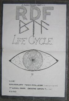 R.D.F., Salisbury 7/4/89 Gig Poster
