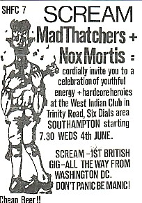 SCREAM, Southampton 4/6/82 Gig Flyer