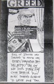 VARIOUS, Greed Fanzine Promo Poster