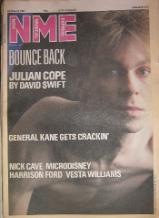 JULIAN COPE (TEARDROP EXPLODES), Front Cover NME 24/1/87