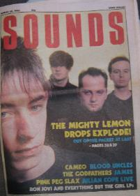 MIGHTY LEMON DROPS, Sounds Front Cover 30/8/86