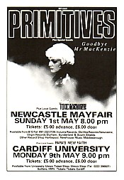 PRIMITIVES, Newcastle Gig Flyer 1987