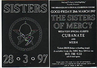 SISTERS OF MERCY, Flyer for cancelled 1997 concert