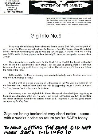 DAMNED, Gig Info No.9 1996 Newsletter