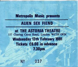 12/2/91 London Gig Ticket
