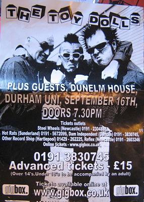 TOY DOLLS, Durham 16/9/09 Gig Poster