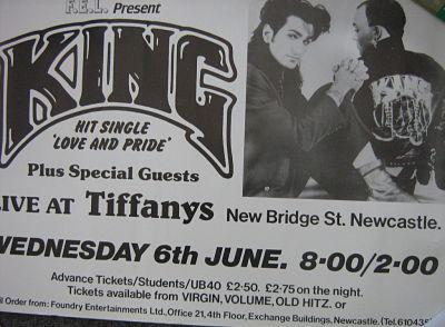 display image of KING - Newcastle 6/6/84 Gig Poster