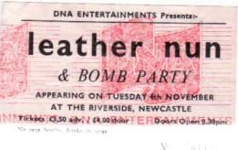 LEATHER NUN, Newcastle 4/11/87 Gig Ticket