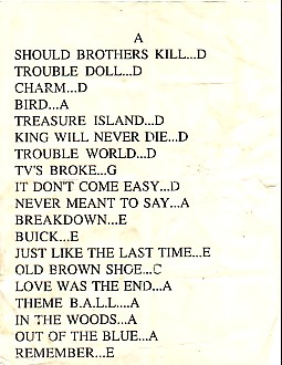 B.A.L.L., Newcastle 27/9/89 Set List
