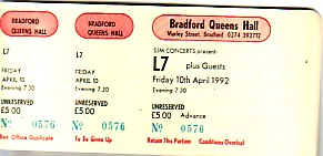 Bradford 10/4/92 gig ticket