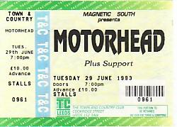 MOTORHEAD, Leeds 29/6/93 gig ticket