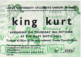display image of KING KURT - Leeds 30/10/86 gig ticket