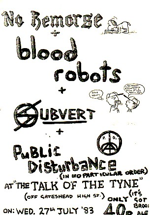 display image of BLOOD ROBOTS/SUBVERT - 27/3/83 Gig Poster
