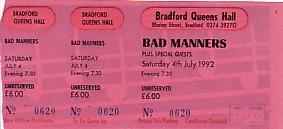 BAD MANNERS, Bradford 4/7/92 ticket