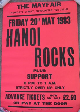 Hanoi Rocks Newcastle 1983 poster