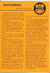 Outlandos Fan Club Newsletter March 1981