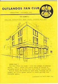 Outlandos Fan Club Newsletter Sept 1982