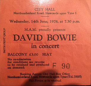 DAVID BOWIE, Newacstle 14/6/78 Gig Ticket