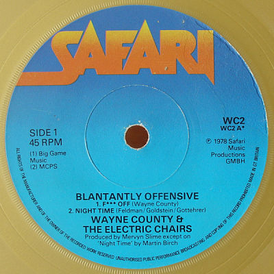 WAYNE COUNTY AND THE ELECTRIC CHAIRS, Blatantly Offenzive E.P.