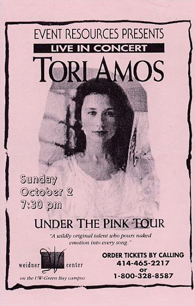 TORI AMOS, 2/10/1994 Gig Flyer