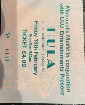 HULA, 13/2/87 Gig Ticket