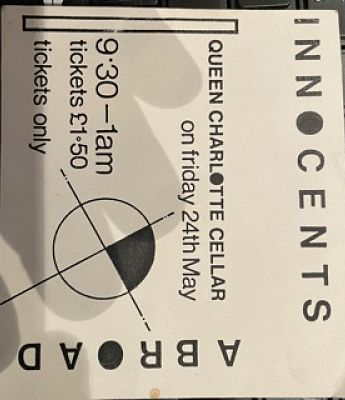 INNOCENTS ABROAD, 24/11/85 Gig Ticket