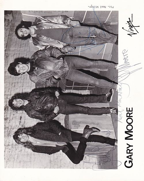 GARY MOORE, Fully Signed By Band Promotional Press Photo