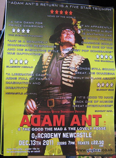 ADAM ANT, Newcastle 13/12/11 Gig Poster