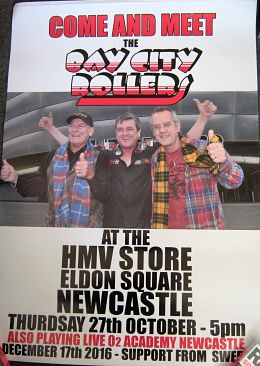 BAY CITY ROLLERS, 2016 In-Store Appearance Poster