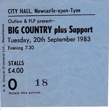Newcastle 20/9/83 Gig Ticket