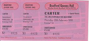 CARTER, Bradford 28/2/91 gig ticket