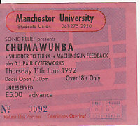 Manchester 11/6/92 gig ticket