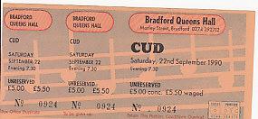 CUD, Bradford 22/2/90 Gig Ticket