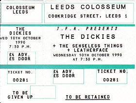 Leeds 10/10/90 gig ticket