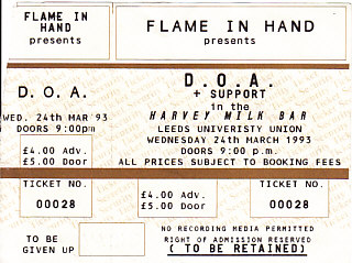 Leeds 24/3/93 gig ticket