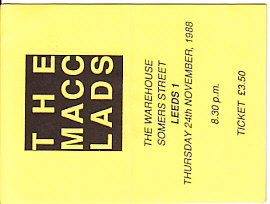 Leeds 24/11/88 gig ticket