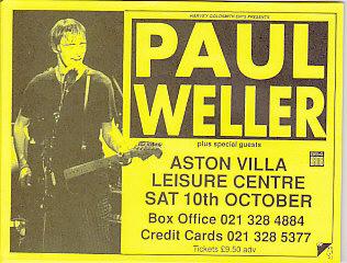 Aston Villa 10/10/92 A5 Gig Flyer