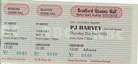 Bradford 25/1/92 gig ticket