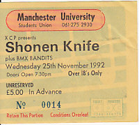 Manchester 25/11/92 gig ticket