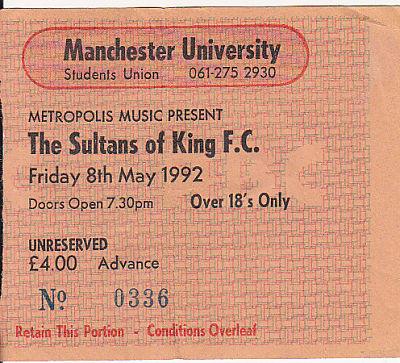 Manchester 8/5/92 gig ticket