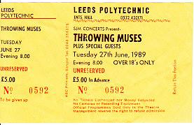 Leeds 27/6/89 gig ticket