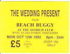 WEDDING PRESENT, Leeds 12/10/92 gig ticket